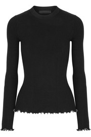 Alexander Wang Embellished ruffle-trimmed ribbed cotton sweater