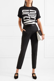 Alexander Wang Silk satin-trimmed studded crepe tapered pants