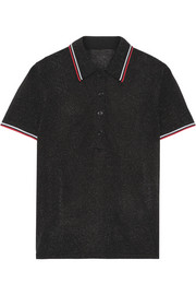 Alexander Wang Metallic stretch-knit polo shirt