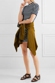 Striped cotton-blend terry mini dress