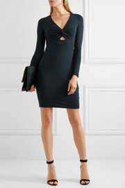 Twist-front stretch-modal jersey mini dress