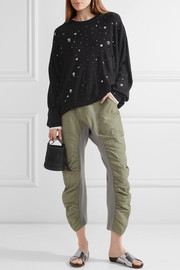 T by Alexander Wang Distressed stretch-knit sweater