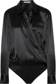 T by Alexander Wang Wrap-effect silk-charmeuse bodysuit