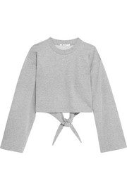 Tie-back cropped cotton-blend jersey sweatshirt