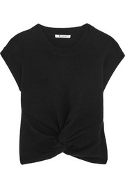 T by Alexander Wang Cropped twist-front wool and cashmere-blend sweater