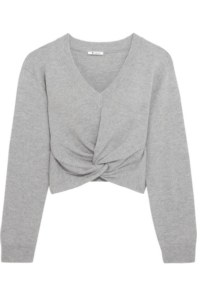 T By Alexander Wang Woman Mélange Wool And Cashmere-blend Sweater Stone Size L Alexander Wang Cheapest Price Online For Sale Online bnWHS
