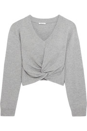 Twist-front wool and cashmere-blend sweater