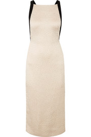 Jason Wu Open-back grosgrain-trimmed cloqué midi dress