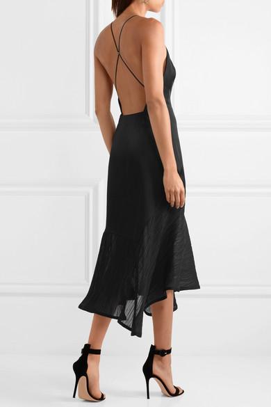 265171aeed1d Jason Wu Collection. Asymmetric plissé chiffon-paneled satin dress.   997.50. Play