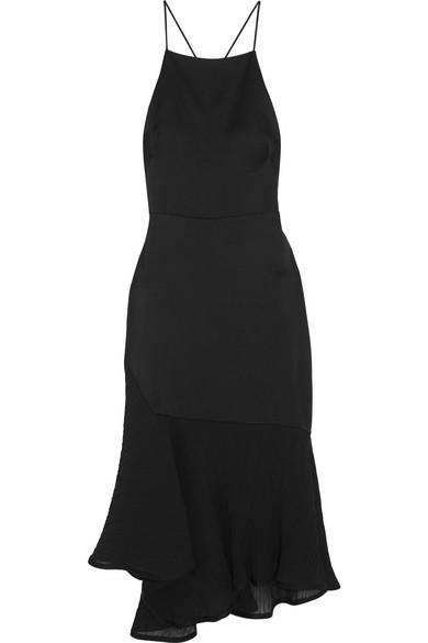 316ef6af69a3 Jason Wu Collection. Asymmetric plissé chiffon-paneled satin dress