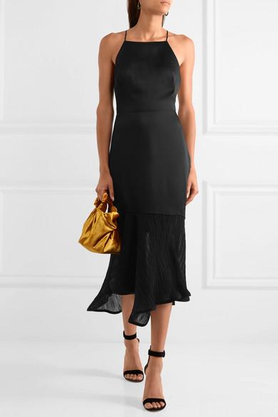 Jason Wu Asymmetrisches Kleid aus Satin mit plissiertem Chiffonbesatz