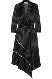 Asymmetric striped silk-charmeuse midi dress