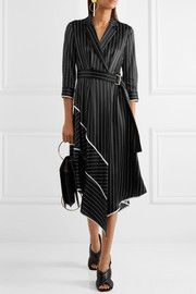 Jason Wu Asymmetric striped silk-charmeuse midi dress