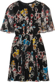 Floral-print silk-crepon mini dress