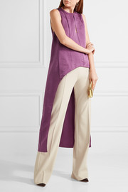 Narciso Rodriguez Asymmetric washed silk-satin top