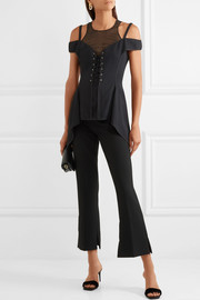 Jason Wu Lace-up silk chiffon-paneled stretch-crepe top