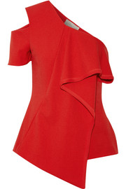 Jason Wu Asymmetric chiffon-trimmed crepe top