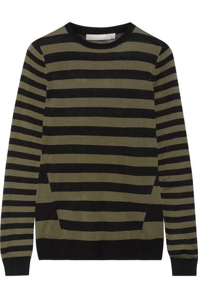 Jason Wu - Striped Silk Sweater - Army green