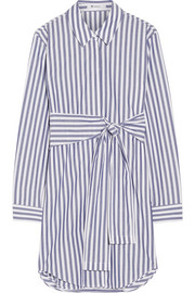 Tie-front striped cotton-poplin mini dress