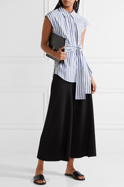 T by Alexander Wang Tie-front striped cotton-poplin shirt