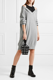 T by Alexander Wang Layered open-knit and cotton-blend mini dress