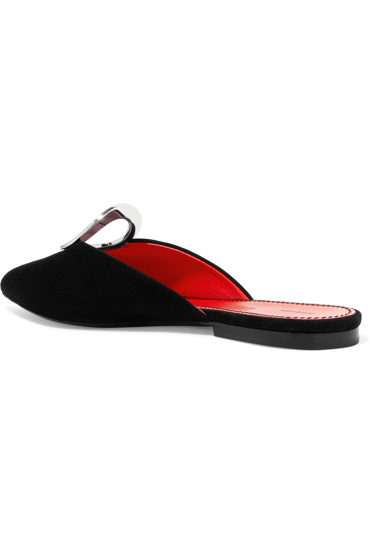 Proenza Schouler Eyelet-embellished suede slippers