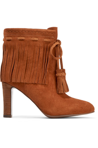See by Chloé - Fringed Suede Ankle Boots - Tan
