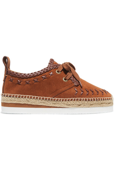fadd5161a0 See By Chloé | Leather-trimmed suede espadrille platform sneakers ...