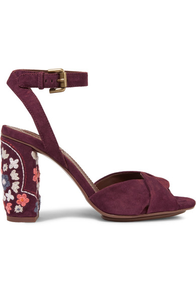 See by Chloé - Embroidered Suede Sandals - Burgundy