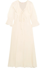 See by Chloé Ruffled cotton and silk-blend gauze midi dress