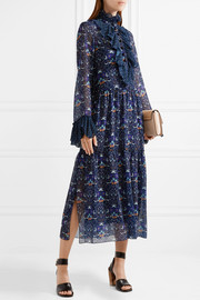 See by Chloé Printed plissé-trimmed georgette midi dress