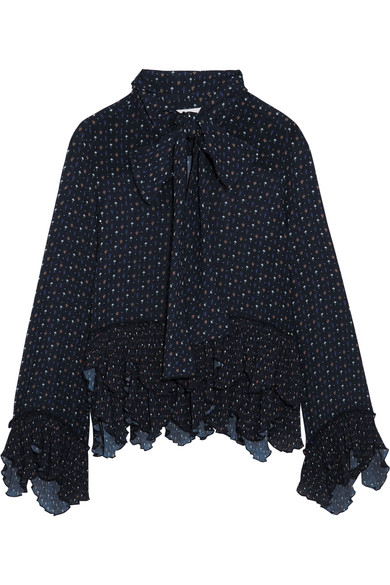 See by Chloé - Pussy-bow Ruffled Printed Georgette Blouse - Storm blue