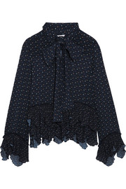 See by Chloé Pussy-bow ruffled printed georgette blouse