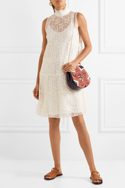 See by Chloé Tiered plissé-lace mini dress