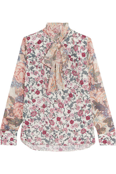 See by Chloé - Pussy-bow Floral-print Chiffon And Silk-georgette Blouse - Blush
