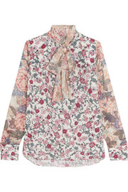 See by Chloé Pussy-bow floral-print chiffon and silk-georgette blouse