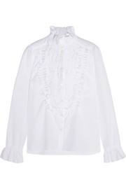 See by Chloé Ruffle-trimmed smocked cotton-poplin shirt