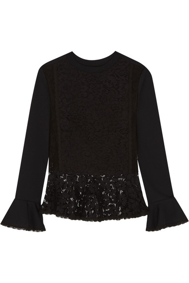 See by Chloé - Cotton-jersey And Lace Peplum Sweater - Black