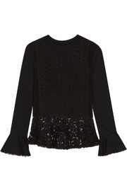 See by Chloé Cotton-jersey and lace peplum sweater