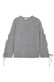 See by Chloé Oversized lace-up knitted sweater