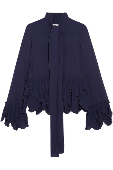 See by Chloé - Ruffled Plissé-georgette Pussy-bow Blouse - Midnight blue