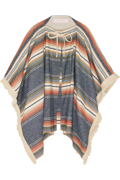 Woman Fringe-Trimmed Striped Canvas Poncho Beige in Multi