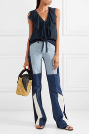 See by Chloé Ruffled crinkled cotton-gauze top