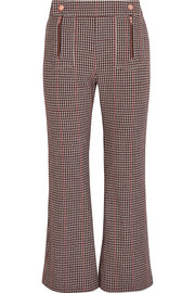 Houndstooth wool-blend cropped flared pants