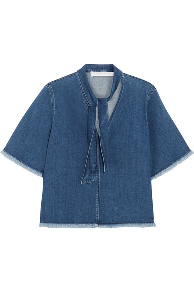 See by Chloé - Frayed Pussy-bow Denim Blouse - Mid denim
