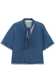 See by Chloé Frayed pussy-bow denim blouse