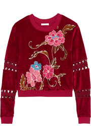 See by Chloé Cropped printed cotton-blend velvet sweatshirt