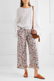 See by Chloé Cropped ruffled floral-print crepe de chine wide-leg pants