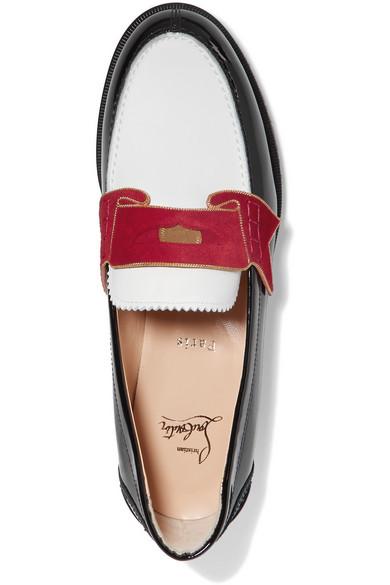 Christian Louboutin Moana Loafers aus Leder mit Veloursleder- und Kettenbesatz
