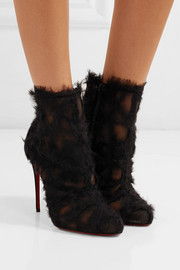 Christian Louboutin Toubootfrou chiffon and leather ankle boots